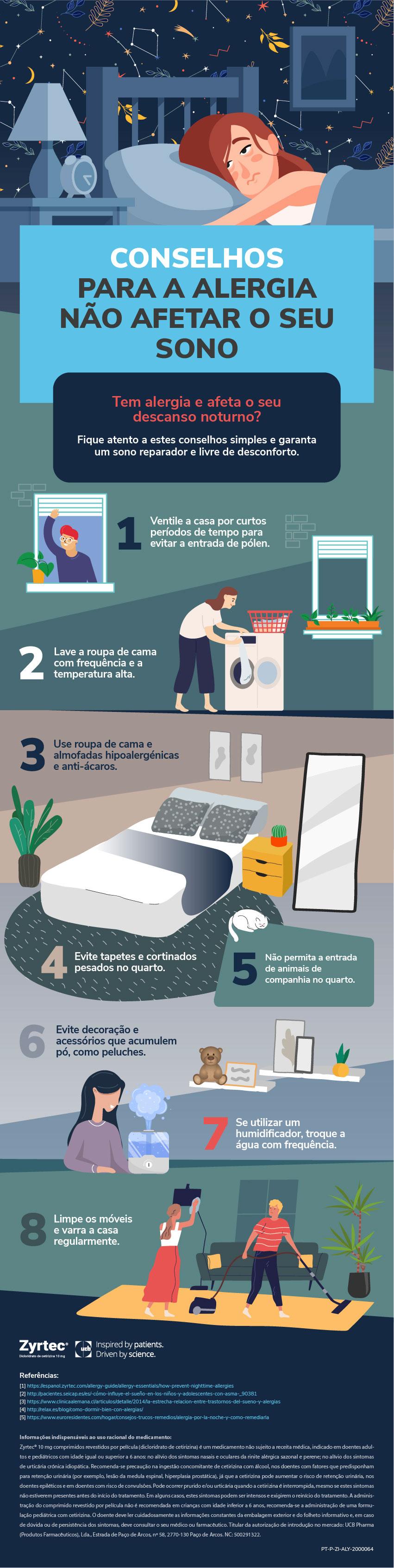 Infografia Conselhos para a alergia não afetar o seu sono