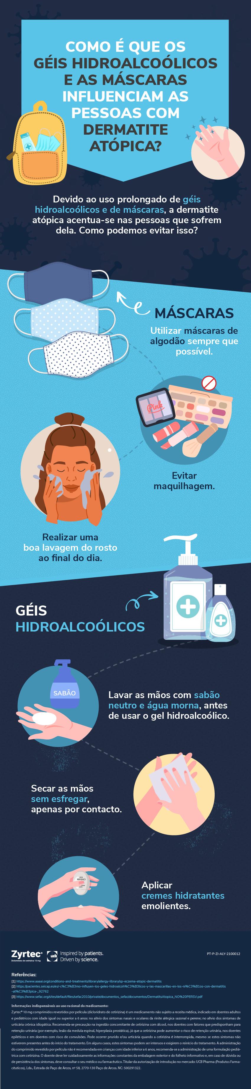 Dermatite atopica geis hidroalcoolicos e mascaras